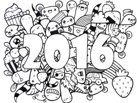 Dibujos para colorear año nuevo 2016 adultos