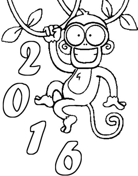 Dibujos para niños para colorear año nuevo 2016