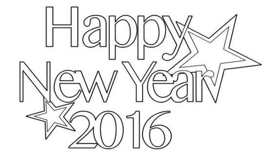Happy new year 2016 para colorear