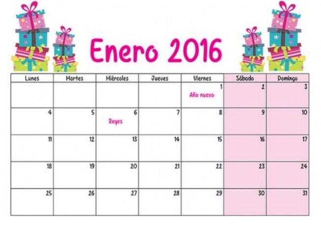 Calendarios enero 2016 para imprimir gratis