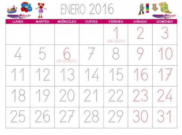 Calendarios enero 2016 para niñas