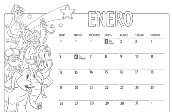 Calendarios enero 2016 para niños para pintar