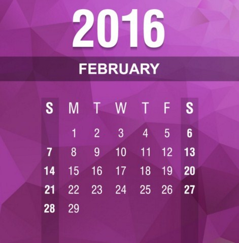 Calendarios febrero 2016 argentina
