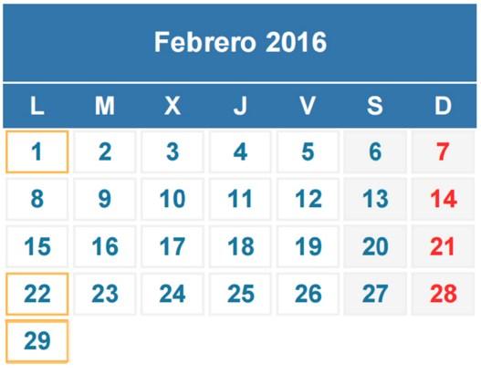 Calendarios febrero 2016 bonitos