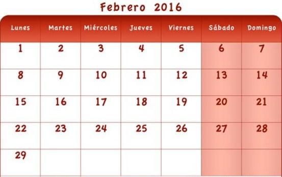 Calendarios febrero 2016 para descargar
