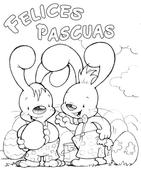 Felices pascuas con conejos para pintar