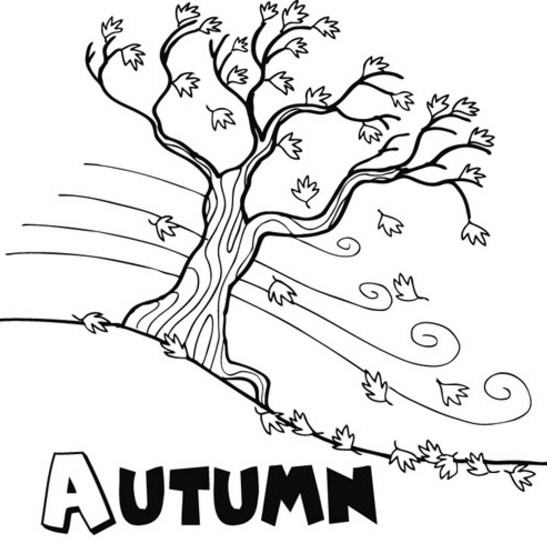 arboles otoño para colorear