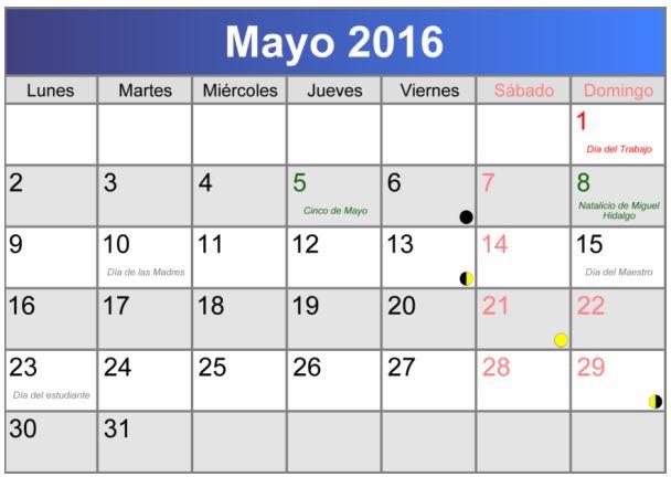 Calendarios mayo 2016 para imprimir bonitos
