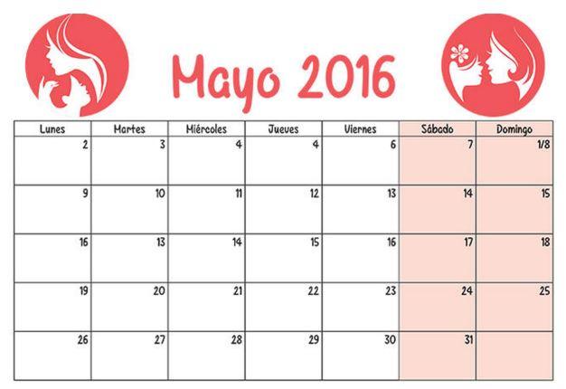Calendarios mayo 2016 para mujeres