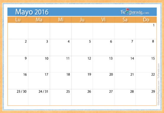 Calendarios mayo 2016 simples