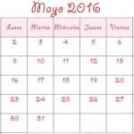 Calendarios mayo 2016 para imprimir
