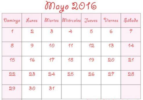 calendarios de mayo 2016 bonitos