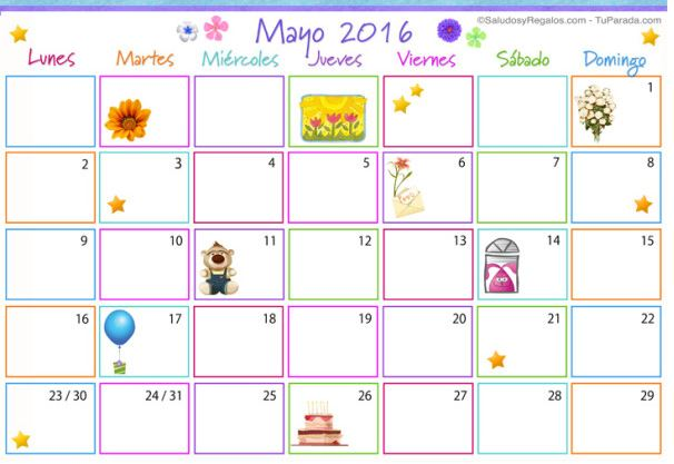 imagenes de calendarios de mayo 2016 para imprimir