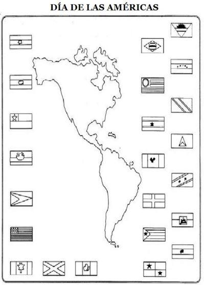 imagenes del dia de las americas para colorear con banderas