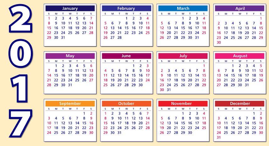 Calendarios 2017 para imprimir | Imagenes